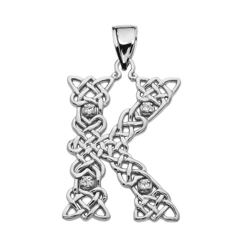 """""""K"""" Initial In Celtic Knot Pattern Sterling Silver Pendant Necklace With CZ"""