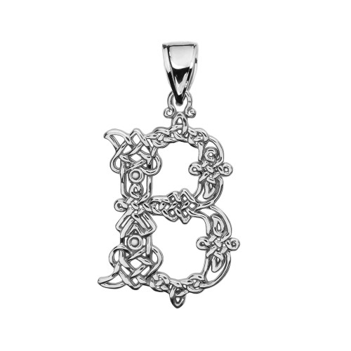 """""""B"""" Initial In Celtic Knot Pattern Sterling Silver Pendant Necklace"""