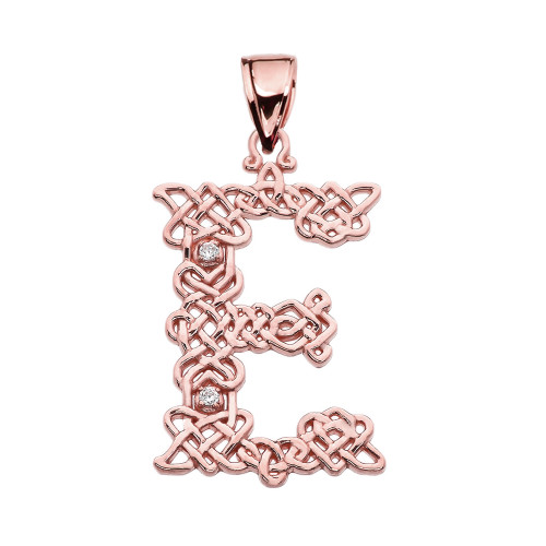 """E"" Initial In Celtic Knot Pattern Rose Gold Pendant Necklace With Diamond"