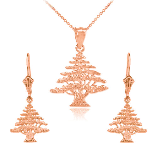 14K  Rose  Gold Lebanese Cedar Tree  Necklace Earring Set