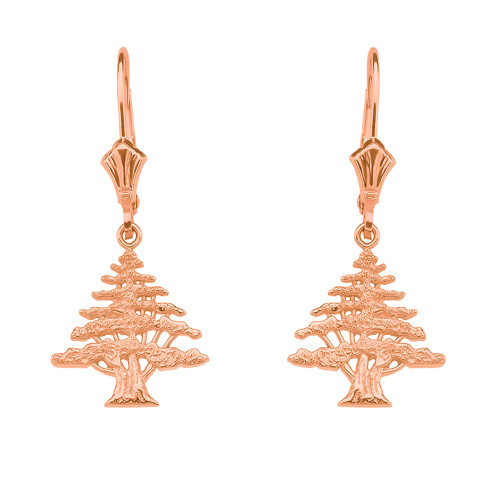 14K Rose Gold Lebanese Cedar Tree Earrings
