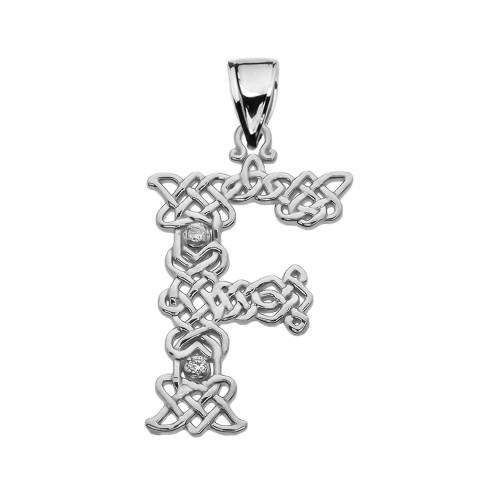 """""""F"""" Initial In Celtic Knot Pattern Sterling Silver Pendant Necklace With CZ"""