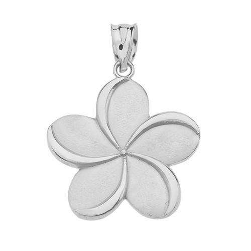 Hawaiian Jewelry Sterling Silver Double Surfboard Plumeria Flower Pendant