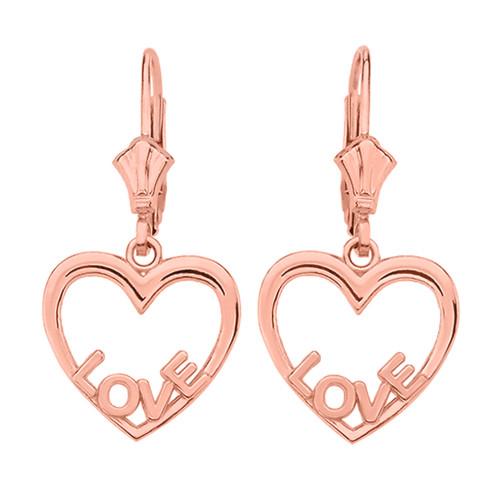 14K  Rose Gold Love Heart  Earrings
