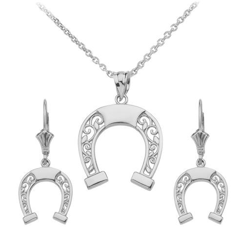 14K White Gold Filigree Horseshoe Necklace Earring Set