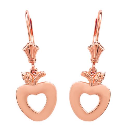 14K Rose Gold Apple Heart Earrings
