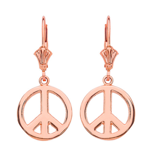 14K Rose Gold Boho Peace Sign Earrings
