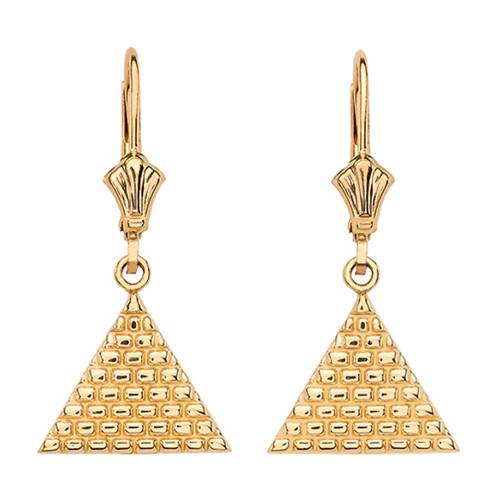 Yellow Gold Egyptian Pyramid Triangle Earrings