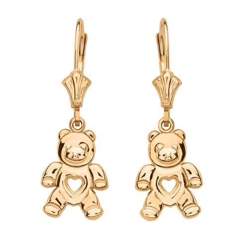 Yellow Gold Love Bear Earrings