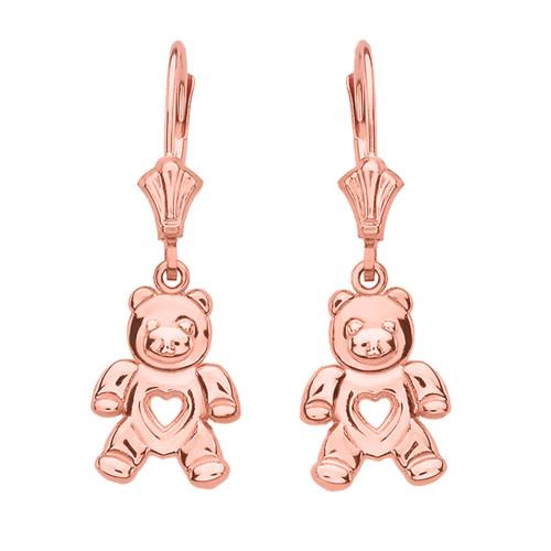 14K Rose Gold Love Bear Earrings