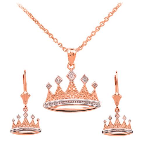 14K Rose Gold Royal Crown Necklace Earring Set