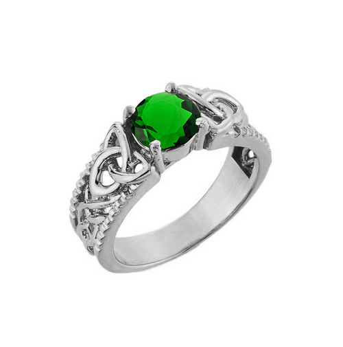 White Gold Celtic Knot Lce Emerald Gemstone Ring