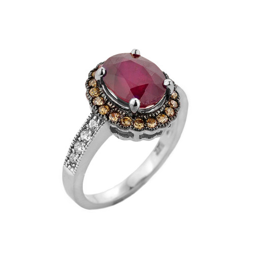 White Gold Ruby and Diamond Engagement Ring
