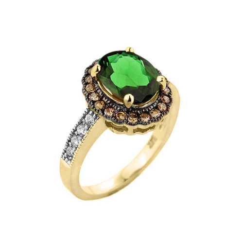 Yellow Gold Diamond and Emerald (LCE) Engagement Ring