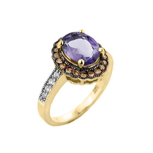Yellow Gold Diamond and Alexandrite (LCA) Engagement Ring
