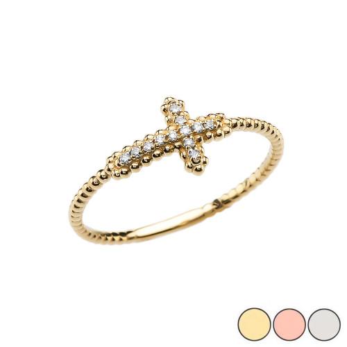 Sideways Cross Diamond Beaded Dainty Ring In Gold  (Yellow/Rose/White)