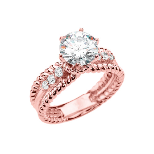Diamond Gold Rope Design Modern Engagement Solitaire Ring With 1 Carat White Topaz Center stone