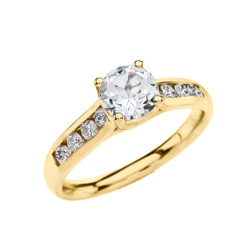 Channel Set Diamond Yellow Gold Engagement Solitaire Ring With 1 Carat White Topaz Center stone