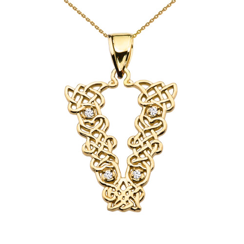 """""""V"""" Initial In Celtic Knot Pattern Yellow Gold Pendant Necklace With Diamond"""