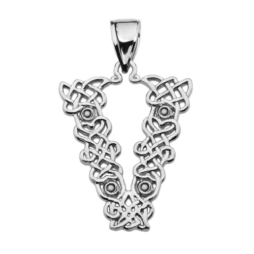 """V"" Initial In Celtic Knot Pattern Sterling Silver Pendant Necklace"