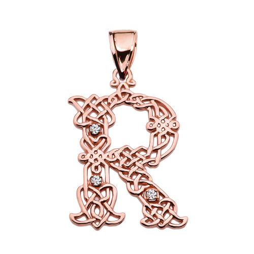 """R"" Initial In Celtic Knot Pattern Rose Gold Pendant Necklace With Diamond"
