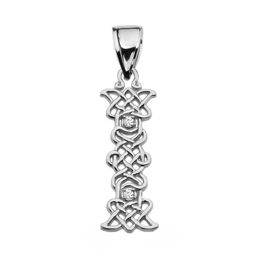 """I"" Initial In Celtic Knot Pattern Sterling Silver Pendant Necklace With CZ"