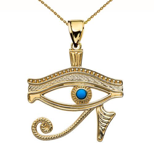 Eye of Horus Yellow Gold Turquoise Pendant Necklace