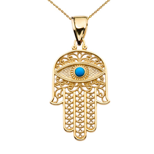 Turquoise Evil Eye Hamsa Hand Yellow Gold Pendant Necklace