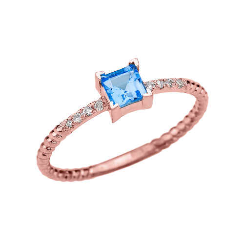 Dainty Rose Gold Solitaire Princess Cut Blue Topaz and Diamond Rope Design Engagement/Promise Ring
