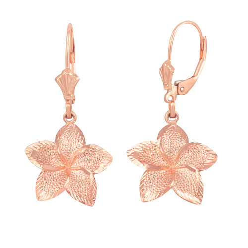 14K Rose Gold Five Petal Textured Plumeria Flower Earring Set  (Medium)