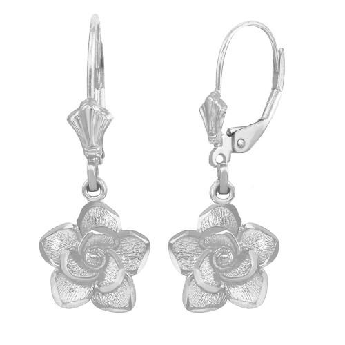 14K White Gold Rose Flower Diamond Cut Earring Set