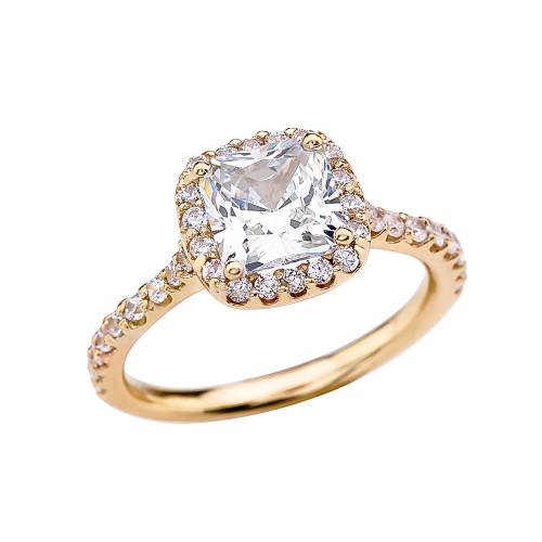 Cushion Shape Solitaire Elegant Yellow Gold 3 Carat Cubic Zirconia  Engagement Proposal Ring