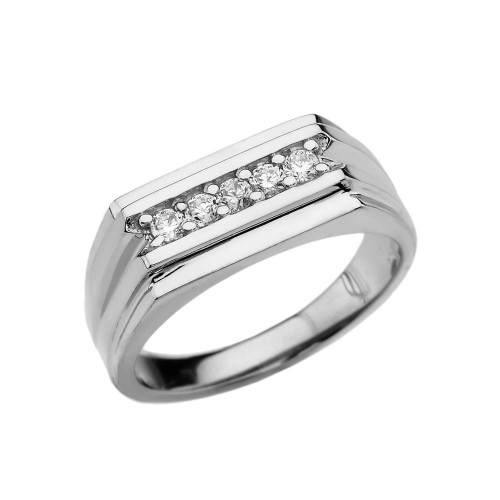 0.25 Carat Diamond White Gold Men's Ring