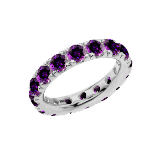 4mm Comfort Fit Sterling Silver Eternity Band With February Birthstone Amethyst
