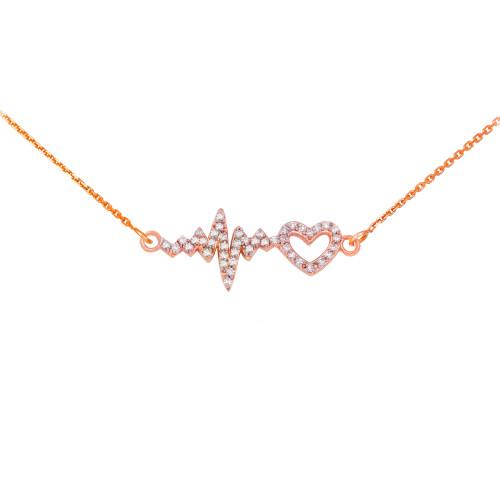 14K Rose Gold Lifeline Pulse Heartbeat Heart Diamond Pendant Necklace