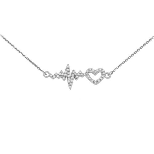 14K White Gold Lifeline Pulse Heartbeat Heart Diamond Pendant Necklace
