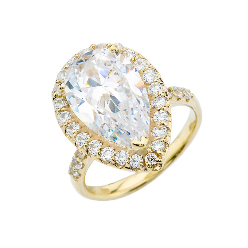 10 Carats CZ Pear-Shaped Engagement Ring in Yellow Gold
