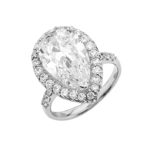 10 Carats CZ Pear-Shaped Engagement Ring in Sterling Silver