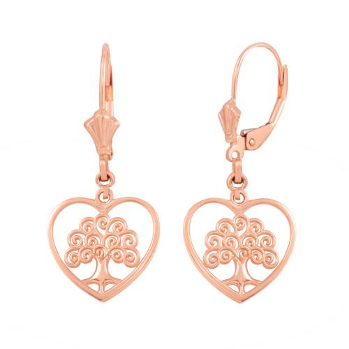 14K Rose Gold Tree of Life Open Heart Filigree Earring Set