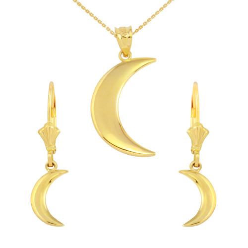 14K Yellow Gold Crescent Moon Pendant Necklace Earring Set