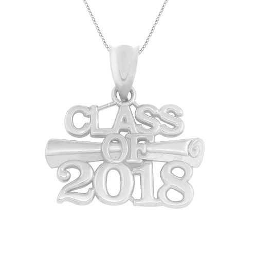 Sterling Silver Class of 2018 Graduation Certificate Pendant Necklace