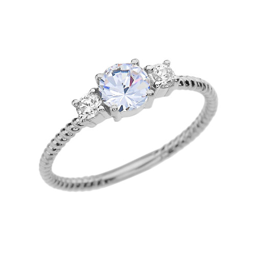Dainty White Gold White Topaz With Side Stones Rope Design Engagement/Promise Ring