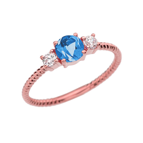 Dainty Rose Gold Blue Topaz and White Topaz Rope Design Engagement/Promise Ring