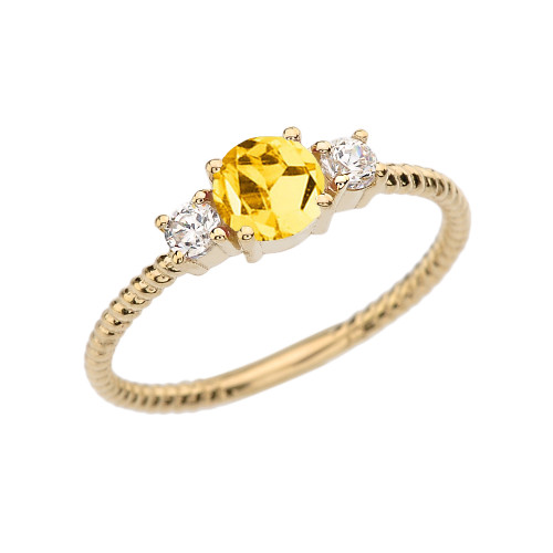 Dainty Yellow Gold Citrine and White Topaz Rope Design Engagement/Promise Ring