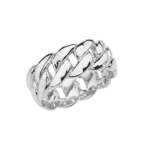 Sterling Silver 8 mm Cuban Link Ring Band