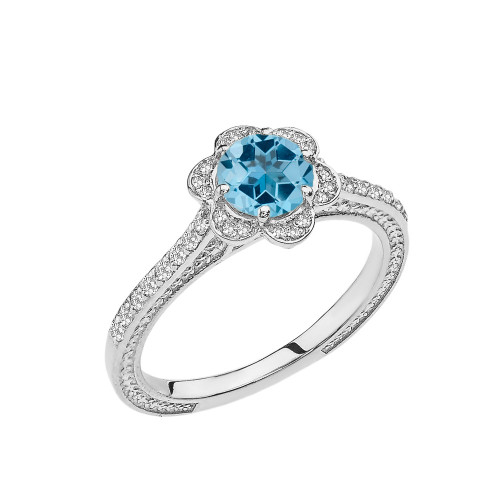 Blue Topaz and Diamond White Gold Engagement/Proposal Ring