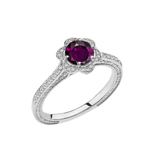 Alexandrite(LCAL) and Diamond White Gold Engagement/Proposal Ring