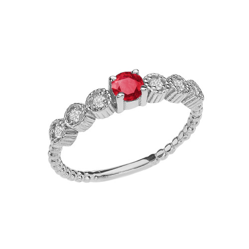 Diamond and Ruby White Gold Stackable/Promise Beaded Popcorn Collection Ring