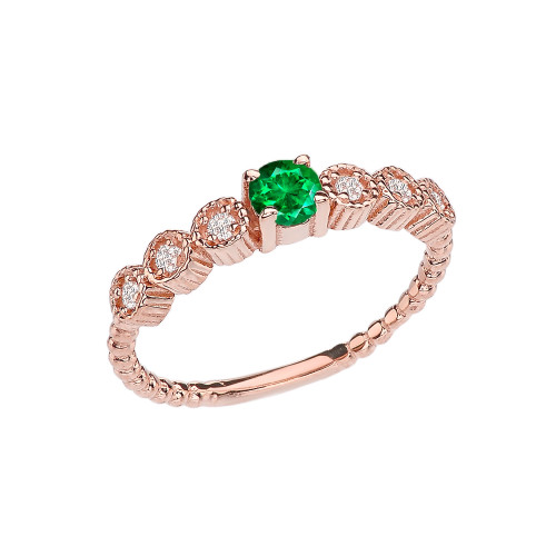 Diamond and Emerald(LCE) Rose Gold Stackable/Promise Beaded Popcorn Collection Ring