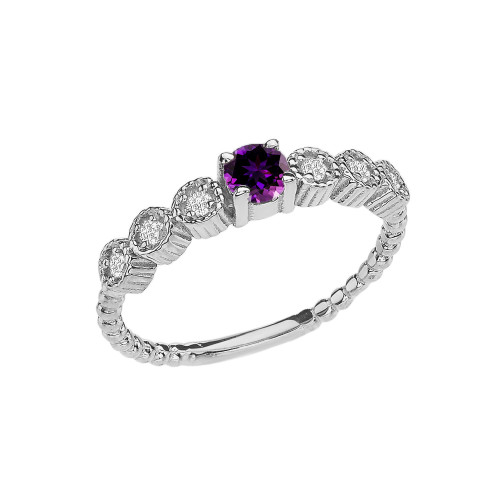 Diamond and Amethyst White Gold Stackable/Promise Beaded Popcorn Collection Ring